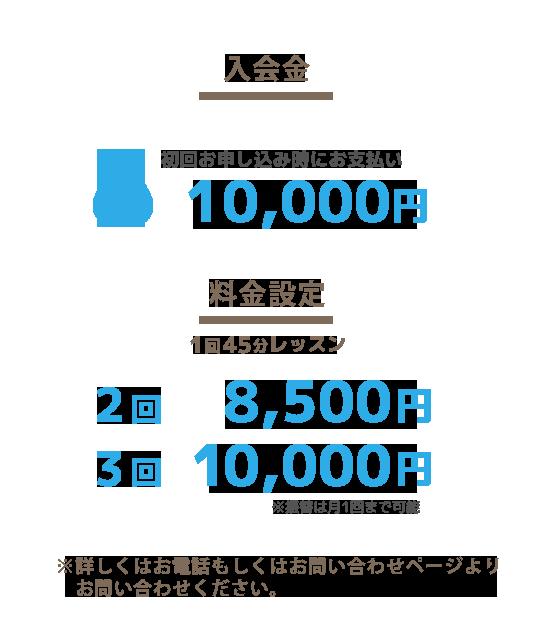 入会金 初回のみ10000円 1回45分レッスン 2回 8500円 3回 10,000円